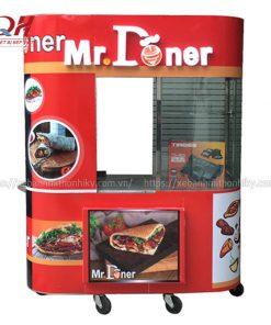 Xe đẩy bánh mì Kebab Torki kính cong Quang Huy