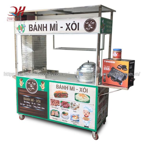Xe đẩy bánh mì xôi xá xíu Quang Huy