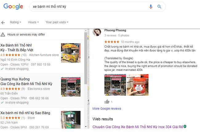 Đánh giá khách hàng xe bánh mì doner kebab Quang Huy