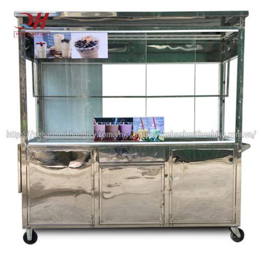 Khung tủ xe đẩy trà sữa Inox 304 chắc chắn, không hoen gỉ, độ bền cao