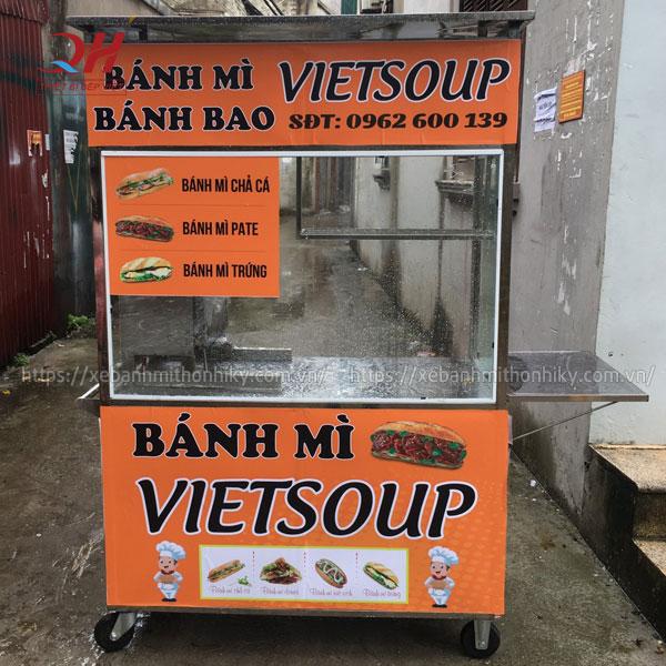 Mẫu xe đẩy bánh mì Quang Huy VietSoup tại xưởng