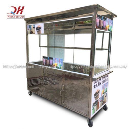 Tủ đẩy trà sữa trân châu Inox Quang Huy