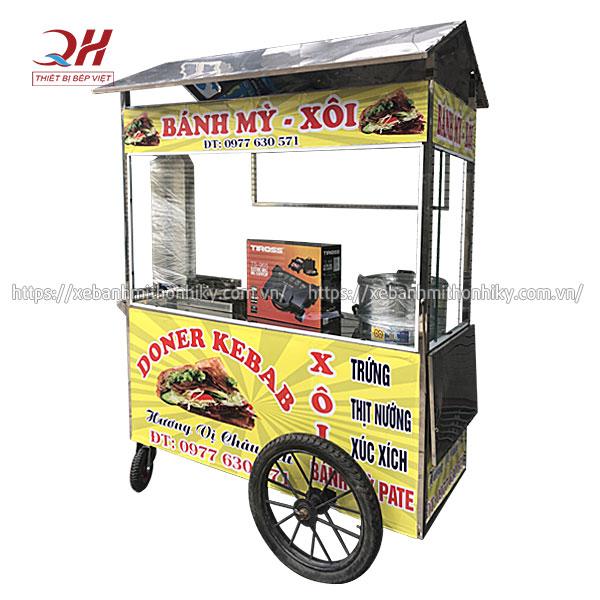 Tủ xe đẩy bán xôi bánh mì Quang Huy