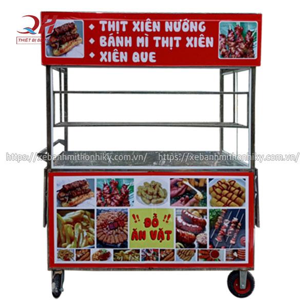 Tủ xe đẩy bán thịt xiên nướng, xiên que Quang Huy