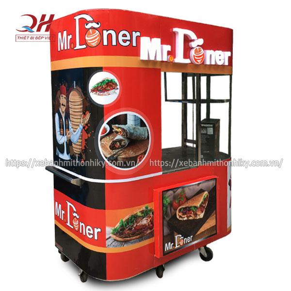 Tủ xe đẩy bánh mì Kebab Torki kính cong