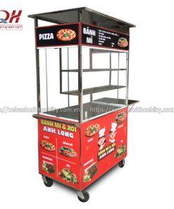 Tủ xe đẩy bánh mì pizza Inox 304 không gỉ sét, bền bỉ
