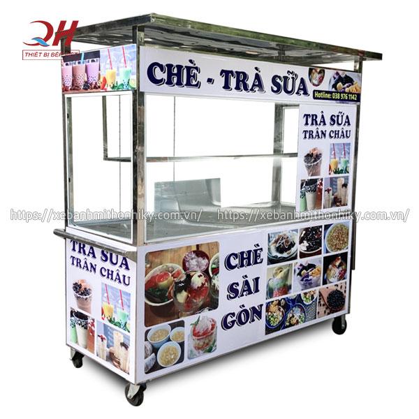 Tủ xe đẩy trà sữa trân châu Quang Huy gia công sản xuất Inox 304 không gỉ