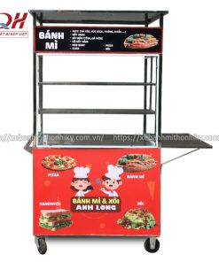 Xe đẩy bán bánh mì Pizza Quang Huy sản xuất và phân phối tại xưởng