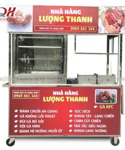 Xe đẩy bán đồ chiên Inox 304 Quang Huy
