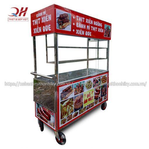 Xe đẩy bán thịt nướng, xiên que Quang Huy