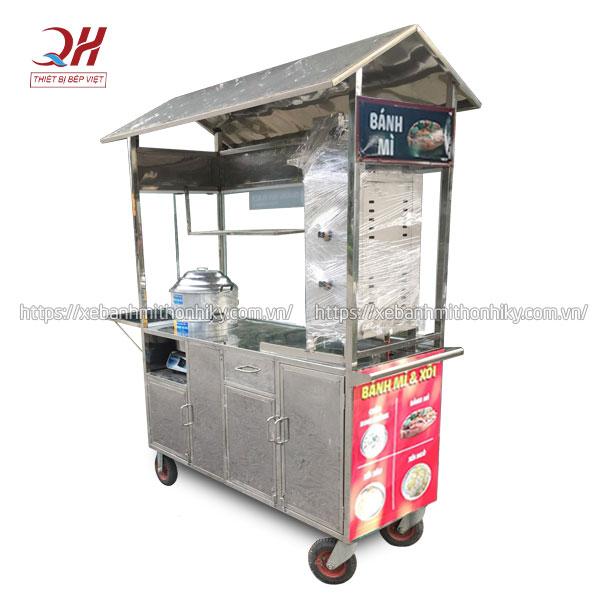 Khung xe đẩy bánh mì xôi ngô lạc chất liệu Inox 304 không gỉ sét