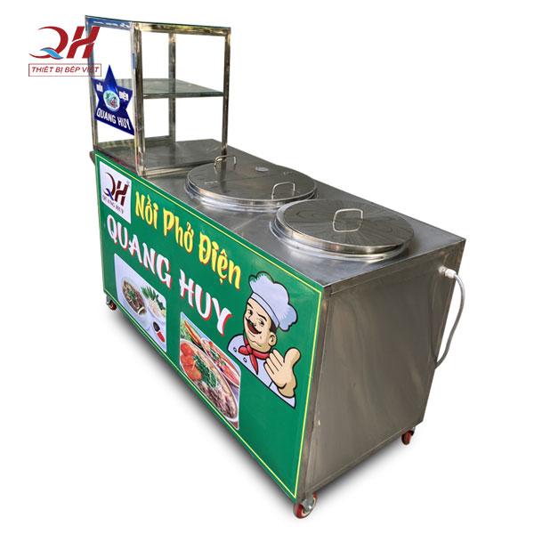 Tủ kính bán phở tích hợp 2 nồi nấu điện 30-80 lít Quang Huy