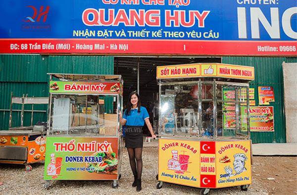 các dòng xe bánh mì được làm từ chất liệu inox gia công trực tiếp tại Quang Huy