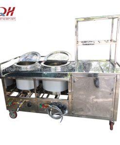 Xe đẩy bán phở tích hợp 2 nồi nấu điện tiện lợi