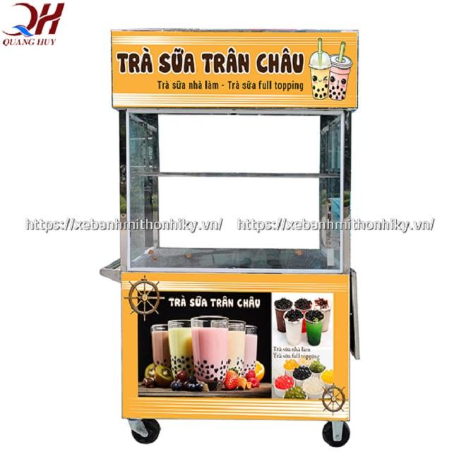 Xe bán trà sữa trân trâu nhỏ gọn tích hợp buồng chứa rộng rãi cùng các kệ đựng trưng bày tiện dụng