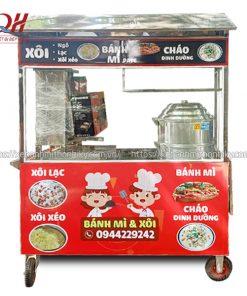 Xe đẩy bán bánh mì xôi ngô lạc Quang Huy