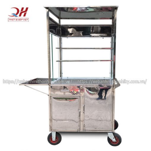 Khung xe đẩy bán hàng chất liệu Inox 304 chắc chắn, không gỉ sét