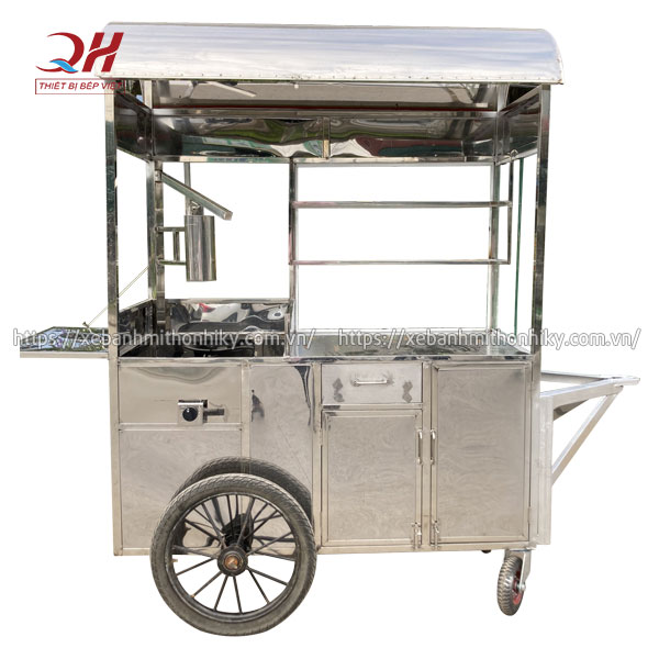 Khung xe đẩy bánh mì chả cá Inox 304 cao cấp, không gỉ