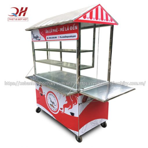 Tủ xe đẩy bán hàng ăn vặt Inox 304 không gỉ