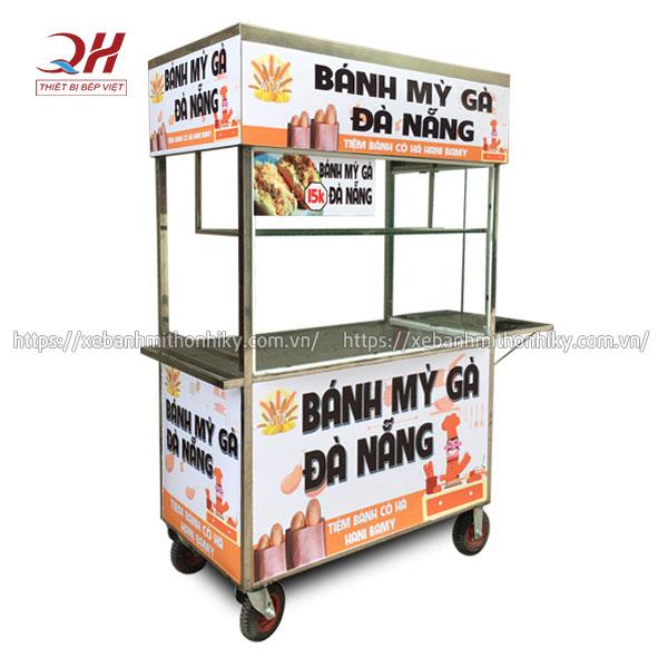Tủ xe đẩy bán bánh mì gà Đà Nẵng với bàn gấp mở tiện lợi