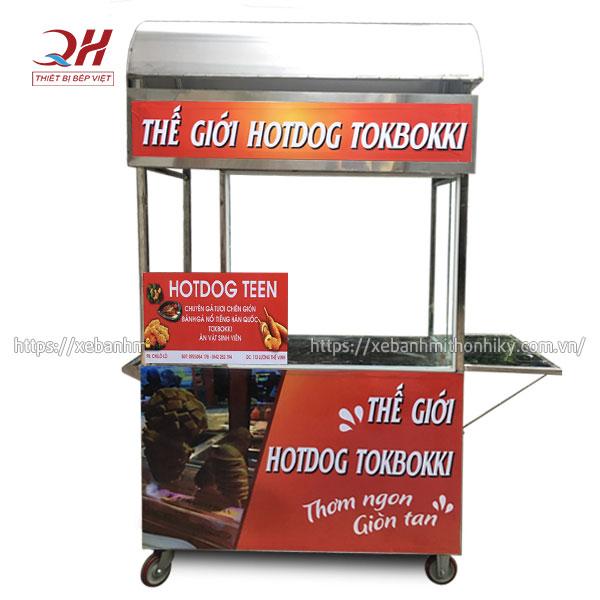 Thiết kế xe bán bánh hot dog mái chùa, bàn gấp mở