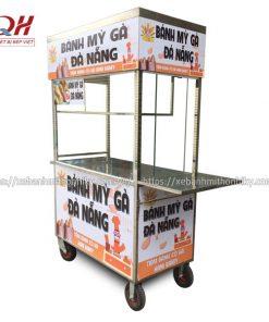 Xe bán bánh mì gà Quang Huy gia công hoàn toàn từ Inox 304 bền bỉ