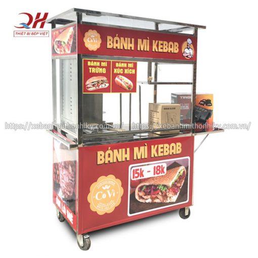 Xe bánh mì Doner Kebab thiết kế lò nướng thịt 2 buồng đốt