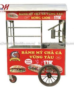 Xe đẩy bán bánh mì chả cá Quang Huy Inox 304 cao cấp