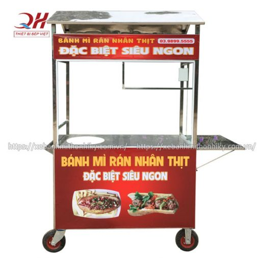 Xe đẩy bán bánh mì rán nhân thịt Quang Huy