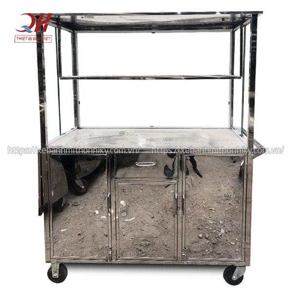 Khung xe đẩy bán hàng Inox 304 không gỉ, thiết kế rộng rãi