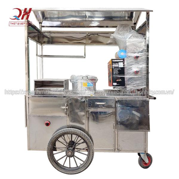 Khung xe đẩy bán xôi bánh mì Kebab mái chùa thiết kế khoa học