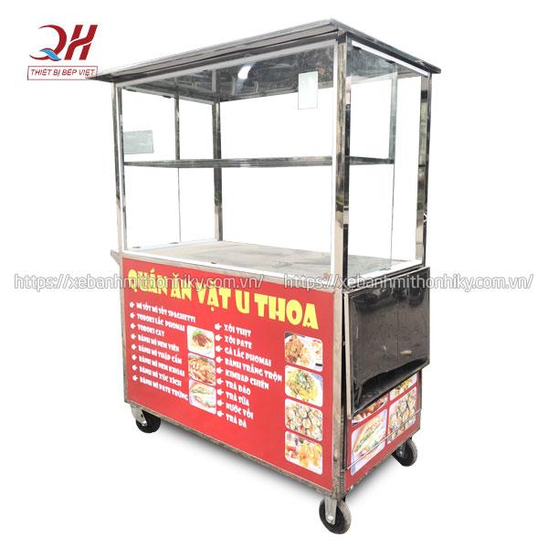 Tủ xe đẩy bán hàng ăn vặt U Thoa gia công sản xuất tại Quang Huy