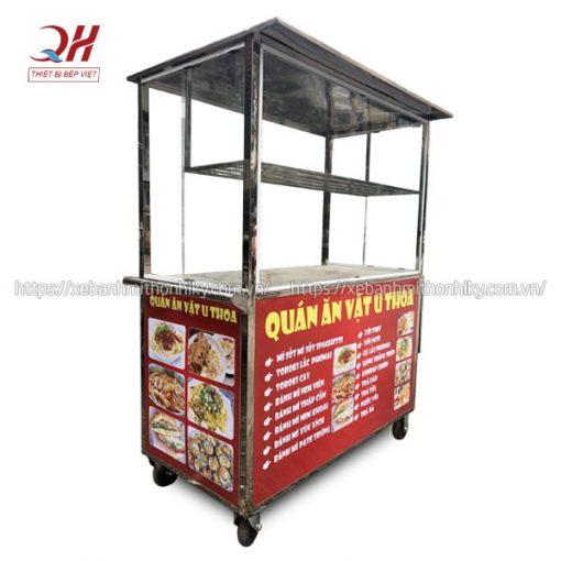 Xe đẩy bán hàng ăn vặt Quang Huy gia công sản xuất